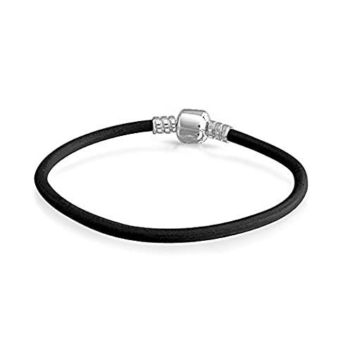 Black Leather 925 Sterling Silver Barrel Clasp Bracelet For Charm Beads