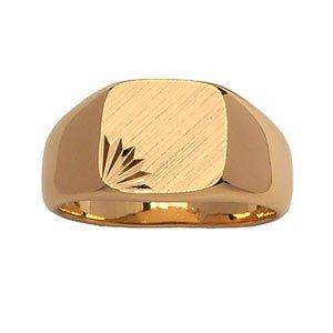 1001 Bijoux - Chevalière plaqué or moyen plateau carré diamanté étoile - tour de doigt 62
