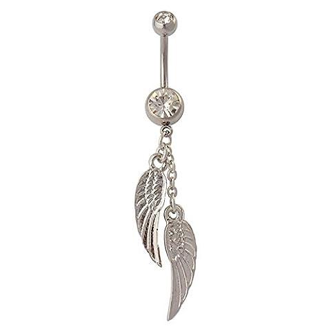 Anneau de nombril - SODIAL(R) Anneau de nombril avec pendentif de plumes d¡¯ailes retro bouton barbell anneau de cristal bijou de piercing