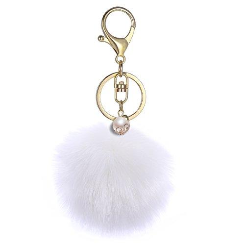 Toymytoy portachiavi con palla pelliccia sintetica e perlina da borsa per regalo delle feste di anniversario compleanno matrimonio san valentino in bianco