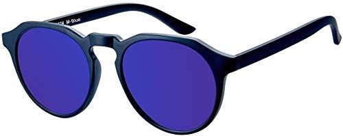 La Optica B.L.M. UV400 CAT 3 Unisex Damen Herren Sonnenbrille Rund Round - Einzelpack Matt Schwarz (Gläser: Blau verspiegelt)