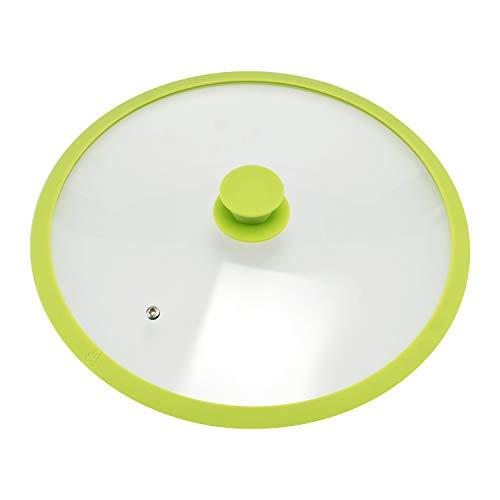 Bremermann - coperchio in vetro con bordo in silicone per pentole e padelle da 32 cm verde