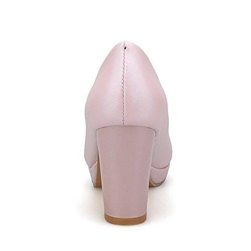 VogueZone009 Femme Tire à Talon Haut Pu Cuir Couleur Unie Rond Chaussures Légeres Rose