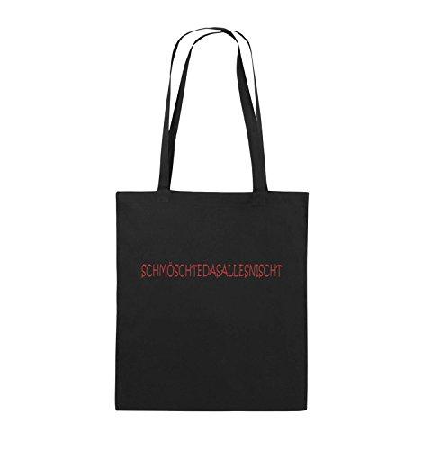 Comedy Bags - SCHMÖSCHTEDASALLESNISCHT - Jutebeutel - lange Henkel - 38x42cm - Farbe: Schwarz / Silber Schwarz / Rot