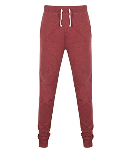 Front Row French Terry Herren Slim Fit Sweat Hose 4 Farben XS-2XL - Weinrot, S -