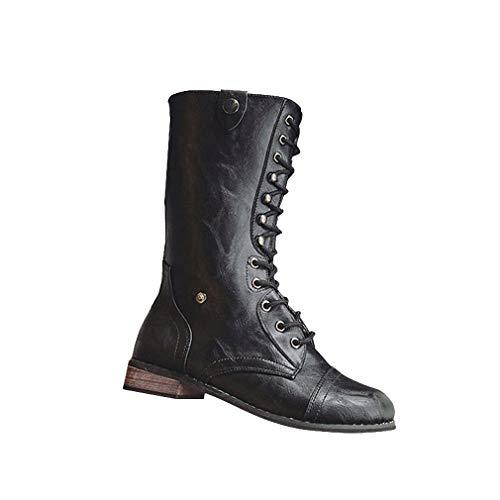feac4f4b5938d Botines Planos de Mujer de Estilo Vintage Zapatos Botas Medianas Cremallera  Trasera Botas de Martin Zapatos