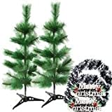 Creativity Creations Pack Of Two Christmas Pine Tree With Merry Christmas Wall Hanging