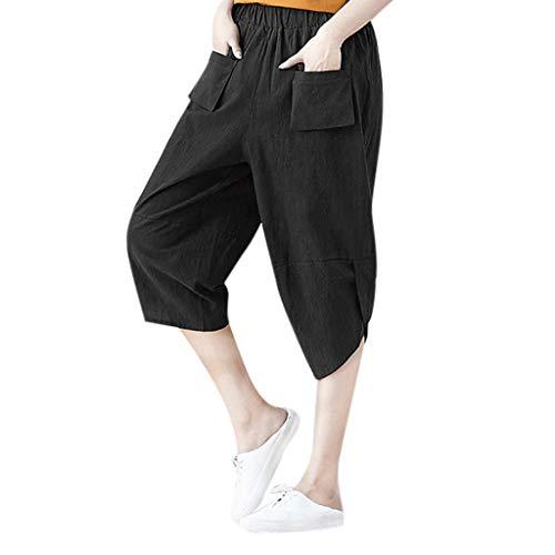 WOZOW Clearance Haremshose Hosen Damen Solid Front Pocket Lose Loose Irregular Hem Bequem High Waist Baggy Saggy Trousers Summer (Old School Halloween Kostüme Box)