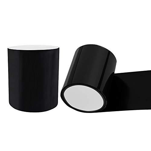Jumine, 2 rotoli di nastro adesivo in gomma nera, impermeabile, per riparazioni, nastro autoadesivo, 10,2 cm x 12,7 cm, nero