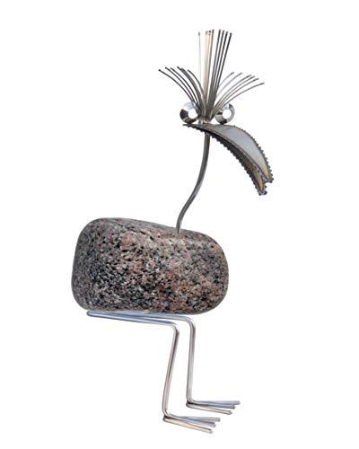 Schorsch Der Angler Gartenfigur und Gartendeko als Steinvogel aus Edelstahl und Gr/ö/ße M ca 45 cm h/öhe