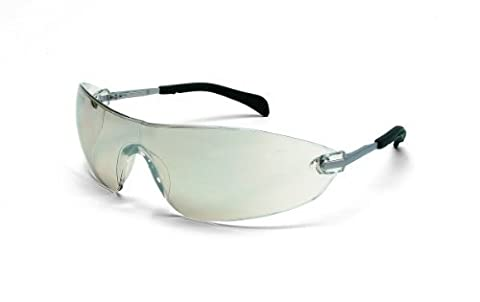 Crews S2219 Blackjack Elite Safety Glasses with Chrome Metal Temple and Indoor/Outdoor Clear Lens by MCR Safety