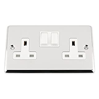 AET CPC2GSOCWH Polished Chrome Classical 2 Gang Socket White Insert Plastic Rocker Switches-13 Amp Double Plug Socket
