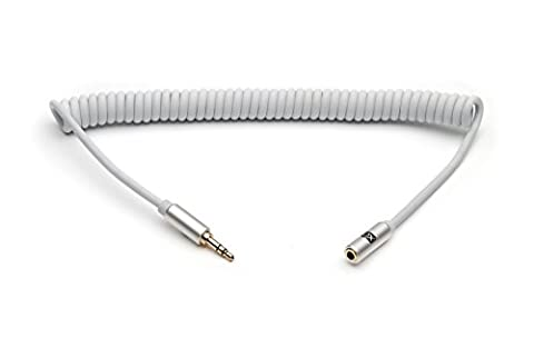XO 3.5mm Stereo Audio Spiralkabel weiß, 3m - Audio Verlängerungskabel