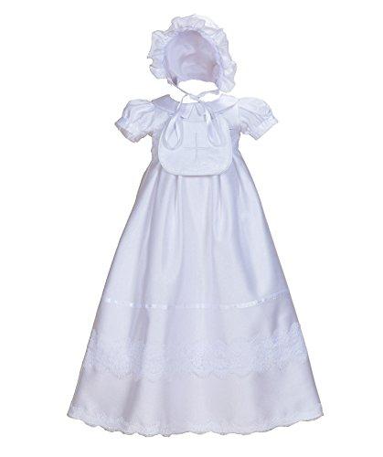 Cinda Baby-Mädchen Satin Taufkleid mit Latz und Motorhaube Weiß 62-68 (Spitze Kleid Gestickte Taufe)