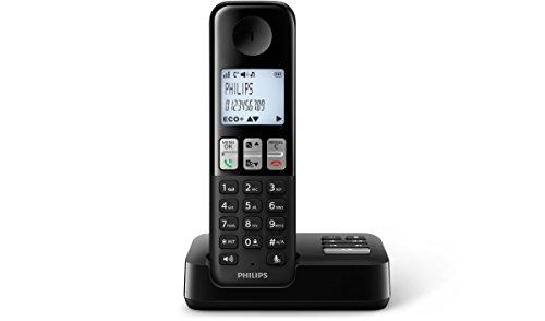 Philips D2351B/38 schnurloses Telefon mit Anrufbeantworter (4,6 cm (1,8 Zoll) Display, HQ Sound, Privatsphären-Modi) schwarz