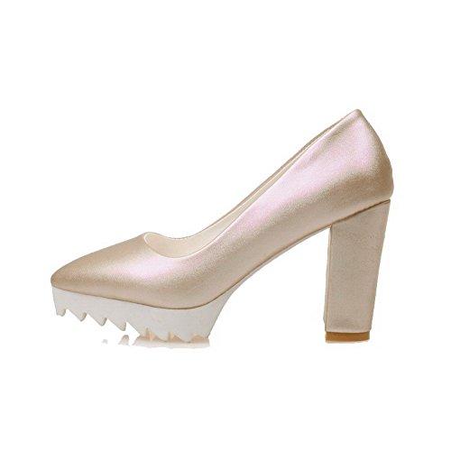 AllhqFashion Damen Hoher Absatz Rein Ziehen Auf Weiches Material Spitz Zehe Pumps Schuhe Golden