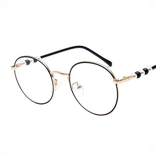 UICICI Frauen Runde Rahmen Gläser Flacher Spiegel Perle Dekorative Gläser Beine (Farbe : Gold/Black Frame)