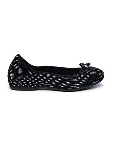 FRAU 70Q0 schwarzen Tupfen Frau Lederschleife Ballerinas Schuhe 39