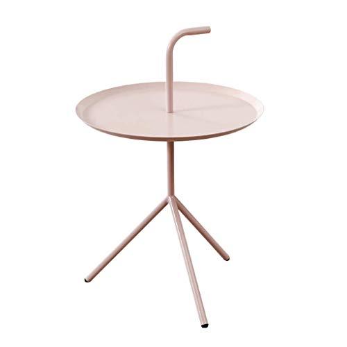 Plateau Table d'appoint Petite Table Ronde Portable Etagère de Table Basse Etabli Multifonctionnel Salon Terrasse (Couleur : Pink)