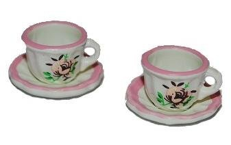 Unbekannt 2 Teller mit Tasse Becher Kaffeetasse Teetasse Kaffeebecher 4 TLG.Blumenmotiv - Puppenstube Küche - Maßstab 1:12