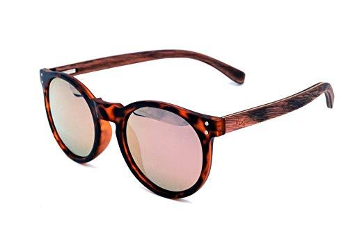 Vagance polarisierte Sonnenbrille mit Echtholz Bügeln + Bambus Etui (Leopard)