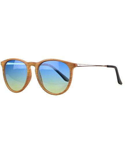caripe Retro Sonnenbrille Damen Herren Hornbrille Vintage Brille verspiegelt + getönt - 139 (big - Holzoptik - blueyellow getönt-s961W)
