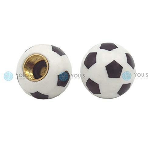 YOU.S Kunststoff Ventilkappen Fußball Soccer Ball mit Dichtung Ventil Kappen Abdeckung für Auto PKW LKW Motorrad Fahrrad (2 Stück)
