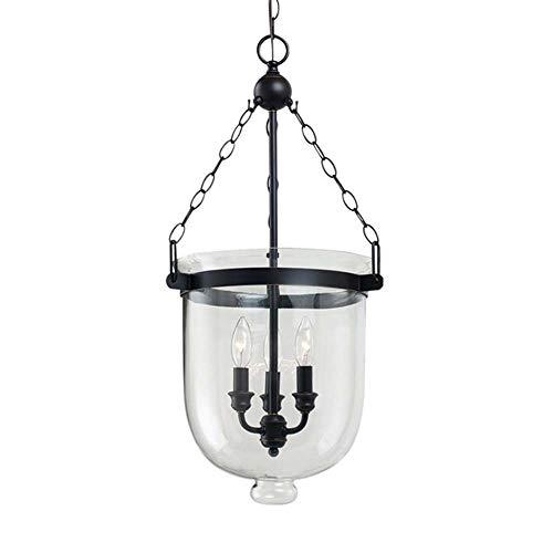 Fashian Round American Country Glas Kronleuchter Kreative Persönlichkeit Wohnzimmer Lampe Restaurant Licht Kerzenlicht Industrie Eimer Kronleuchter Schwarz Hängende Beleuchtung (Size : 25 * 32cm) -