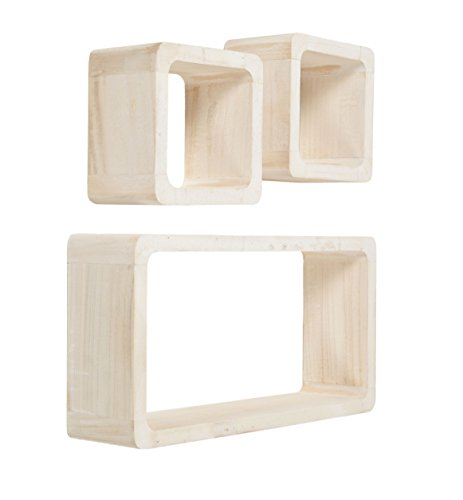 Jeu de 3 étagères cubiques Lounge Cube en bois massif Blanc style usé maison de campagne