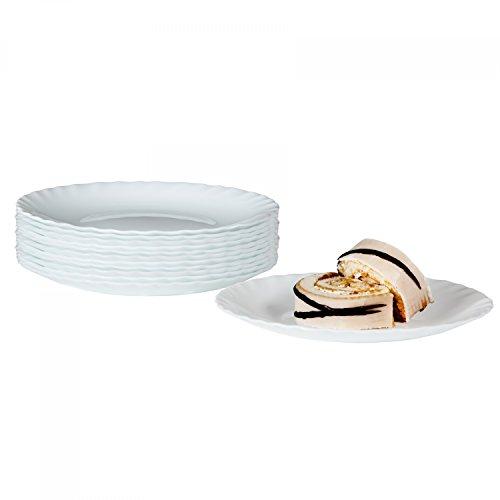 Bormioli Dessertteller Prima 12er Set | hitzebeständiges Opal-Hartglas | Spülmaschinen- und mikrowellenfest | Kuchenteller Frühstücksteller für 6 Personen