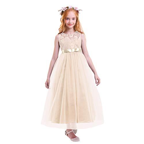 98f13ffc8fa0 OBEEII Vestito Elegante da Ragazza Festa Cerimonia Matrimonio Damigella  Donna Sposa Prima Comunione Battesimo Ballerina Carnevale