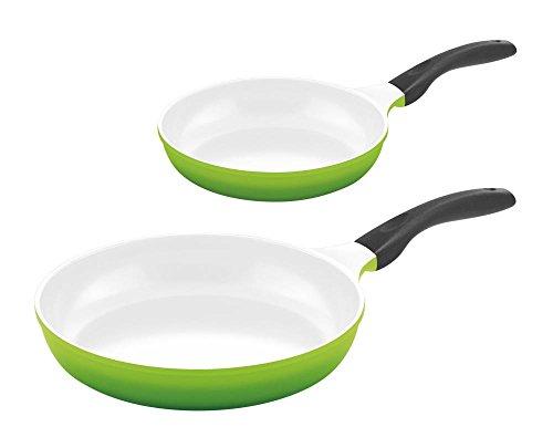Culinario 2er Pfannenset Bratpfannen, Ø 24 und 28 cm, grün, antihaft und induktionsgeeignet
