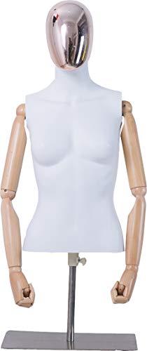 Eurohandisplay Frau, DF-6DMT Büste schöne abstrakte weiß Matt lackierte Schaufensterpuppe Galvanik Kopf holzarme Hände Männliche Weiblich (Frau, DF-6DMT)
