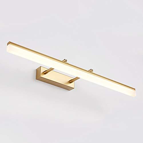 Topdeng Led Spiegel-leuchte Wandlampe, Winkel Verstellbar Stoßdämpfer Spiegellicht, Kosmetikspiegel Edelstahl Acryl Badezimmer Wandleuchten-Gold-Warmweiß 40cm-9W