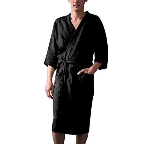 Leinen Pyjama für Herren/Skxinn Männer Nachtwäsche Bademantel Lange Große Größen Kimono Robe Solide Lose Sommer Retro Startseite Kleidung,Herrenkleidung M-4XL Reduziert(Schwarz,Medium) -
