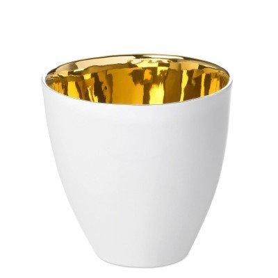Tasse à Café Assoiffée Porcelaine Blanc Brillant et Or Diam 7 cm Tsé & Tsé