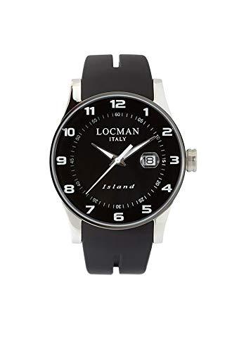 locman Island–Reloj Hombre/Esfera Negra/Caja de Acero y Titanio/Correa de Silicona Negro/Ref. 060000kw-bkw2sik