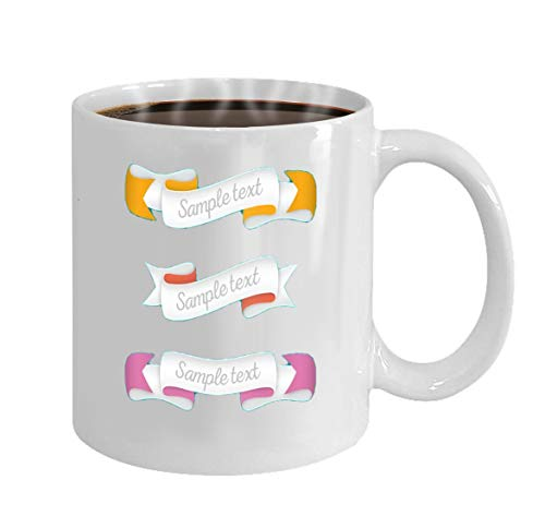 Unique Coffee Mug 11 OZ Gifts For Men, Dad, Father, Boys, Him, Boyfriend, Husband, Man for Father's Day Or Birthday trendy retro ribbons colorful banner with ribbon for design ga (Fun Kids Ga)