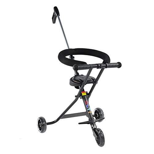 EBTOOLS Tragbarer Dreirad Leichter Kinderwagen Kombikinderwagen Faltbares Baby Trike mit Lenkbarer Schubstange für Reise-Schwarzes, Belastbarkeit: 30KG