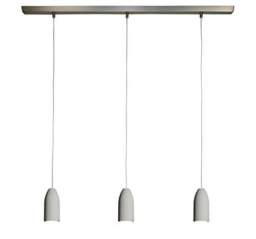 3x Betonleuchte (hängend), Textilkabel'Weiß' (19 Farben wählbar), Deckenschiene 113 cm, incl. LED...