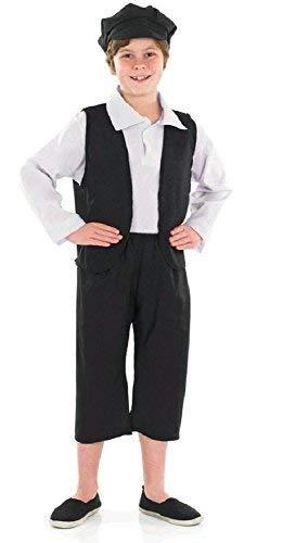 Fancy Me Jungen 4 Stück Oliver Twist Viktorianischer Junge Bauer Büchertag Kostüm Kleid Outfit 4-12 Jahre - Schwarz, 8-10 ()