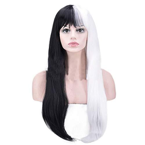 Goney Frauen Perücke, Modische Halbe Schwarze und Halbe Weiße Lange Gerade Haar Cosplay Hohe Qualität Weibliche Party Perücke