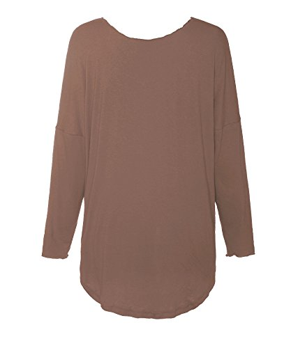 ReliBeauty Donna Tops Manica Lunga Da Legare Tie Up Tee Tunica T-Shirts Cognac