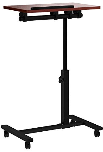 Relaxdays portátil de la mesa de altura regulable de H x B x T: 95 x 60 x 40,5 cm de sofá de la mesa de mesa auxiliar con ruedas de terciopelo de juego de frenos para portátil con soporte para ratón de alto brillo lacado con antideslizante-barra, color marrón 95 x 60 x 40,5 cm