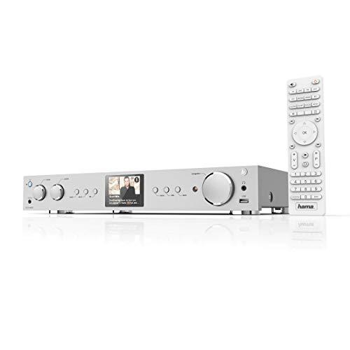 Hama HiFi-Tuner Internetradio und Digitalradio DIT2100MSBT (WLAN/LAN/DAB+/FM, Bluetooth, Multiroom, Spotify Connect/Amazon Music, Fernbedienung, USB/AUX, Radio-Wecker, gratis Radio-App) silber