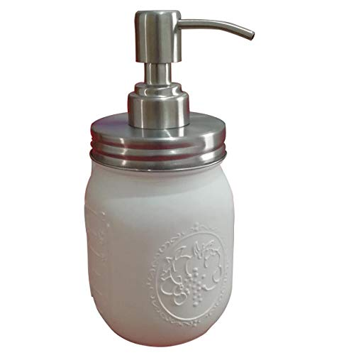 Dispensador de jabón de jarra de Mason Jar Classic Farmhouse pintada de boca regular Mason Jar con dispensador de jabón dispensador de bomba tapa (blanco)