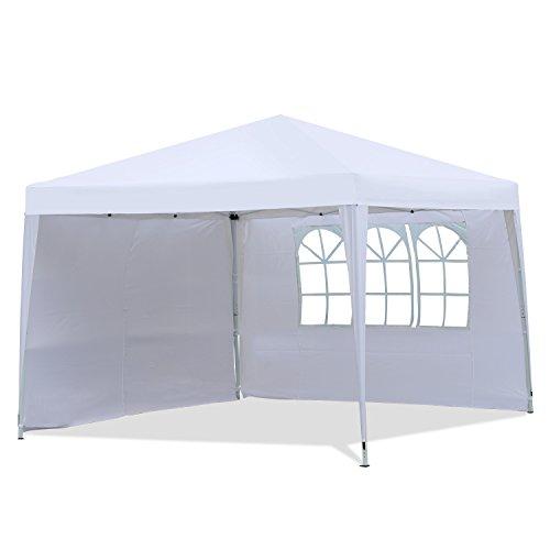Sekey gazebo, tenda da giardino pieghevole/retrattile,bianca,con due pareti laterali,  3x3m