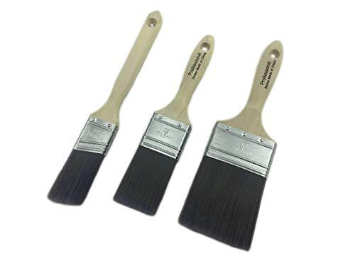 Malerpinsel Set mit synthetischen Borsten, Pinsel-Set, 3-teilig, Profi und Qualitäts Lackierpinsel/Lasurpinsel/Fensterpinsel/Flachpinsel in Premium Qualität