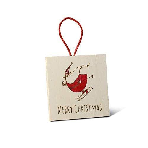 Quadretto decorazione natalizia per albero personalizzata in legno