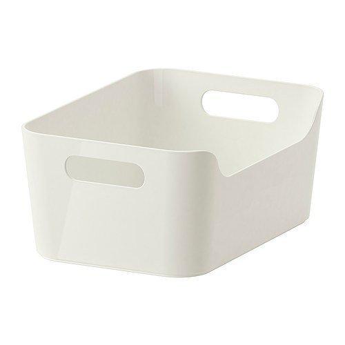 """IKEA Aufbewahrungsbox \""""Variera\"""" stapelbare Kiste in 24x17x10.5cm (BxTxH) mit Tragegriffen - Hochglanz weiß - aus recyceltem PET"""